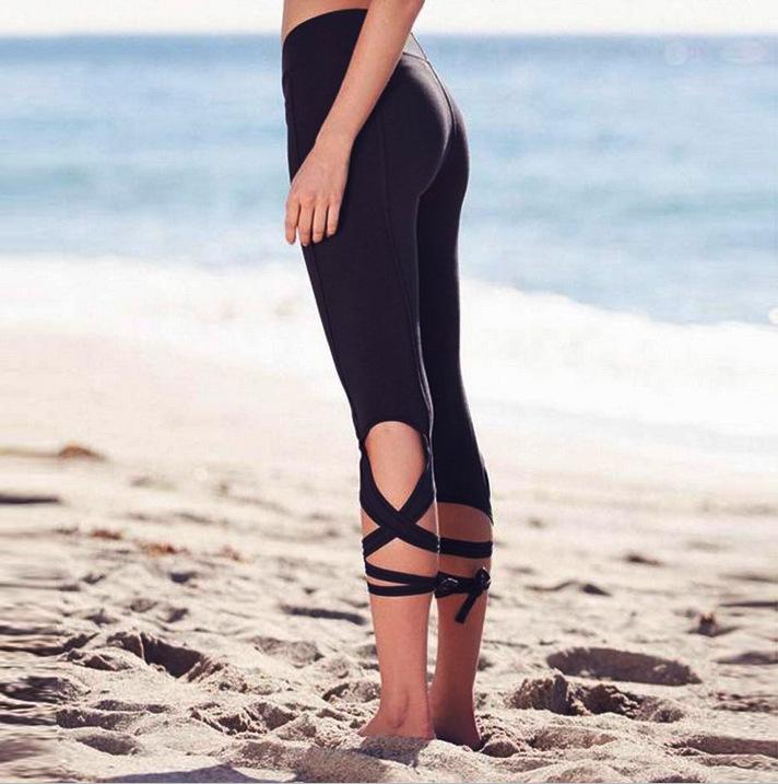 Women Bandage Active Workout Leggings Pants Women Fashion 3/4 Length Black Slim Dance Exercise Trousers Grey Drop