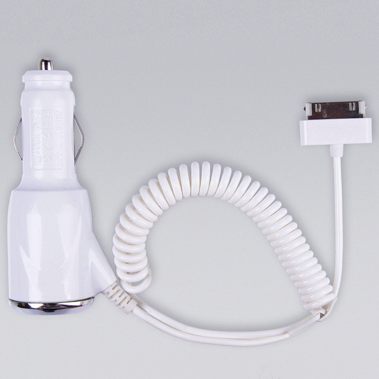 High quality Car Charger with Elasticity Cable Adapter for Apple iPhone 4 4S iPad 2 3 Car Charger White free shipping