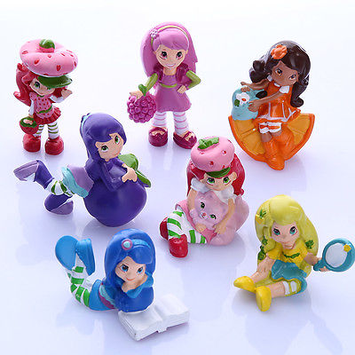 Colorful Cute Strawberry Doll 7 PCS Strawberry Shortcake Cupcake Cake Toppers PVC Figure Toy Doll Action Toy Figures(China (Mainland))