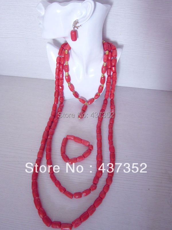 Top Fashion New!!! Nigerian Wedding African Pink Coral Beads Jewelry Set Necklace Bracelet Clip Earrings CWS-191<br><br>Aliexpress
