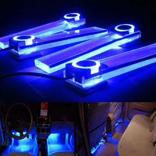 4 In 1 12V Blue Car Decorative Atmosphere Lamp Charge LED Interior Floor Decoration Lights<br><br>Aliexpress