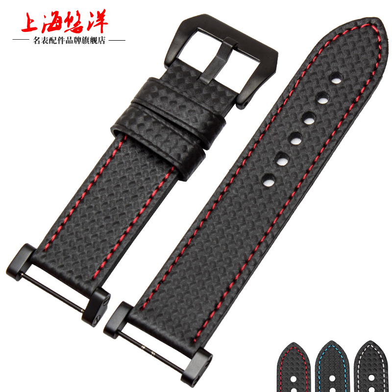 24mm High quality Genuine leather Watch Strap Carbon fiber grain for SUUNTO CORE ESSENTIAL free shipping(China (Mainland))
