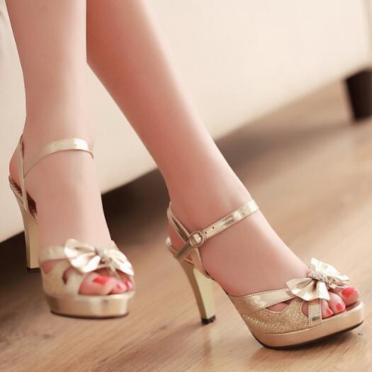 C1279 Women Sandals women sexy peep toe 8 cm high heel sandals bow slingbacks lady summer sandals shoes Gold silver wedding shoe(China (Mainland))
