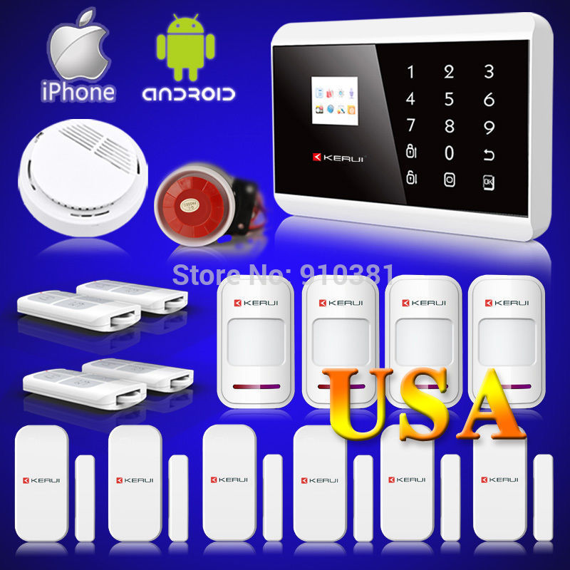 US Stock KERUI APP Control Wireless GSM PSTN Home House Alarm Security System Autodial IOS Android remote arm/disarm EN FR RU SP(China (Mainland))