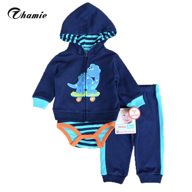 Мода обслуживает мальчик комплект одежды 3 шт. костюмы боди брюки хлопка с длинным ...