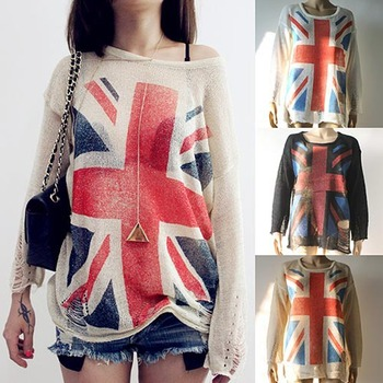 [SEKKES] 2015 Spring/Autumn Fashion Geometric Sweater Women Cutout Hole Pullover Cross Flag Sweater  SWT022