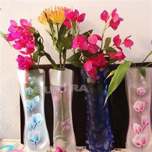 10pcs/Lot Eco-friendly Foldable Folding Flower PVC Durable Vase Home Wedding Party Easy to Store(China (Mainland))