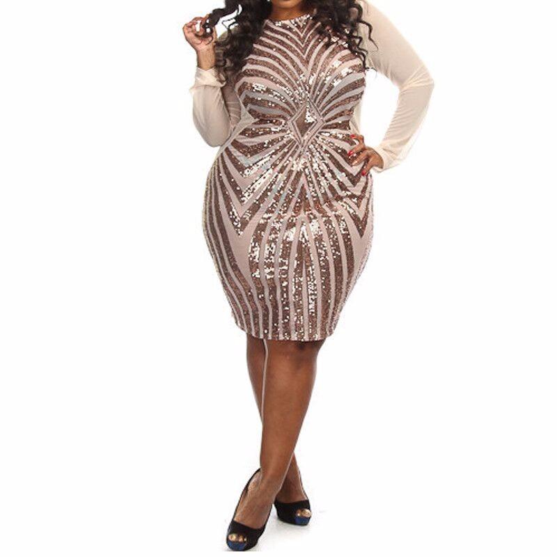 XL XXL XXXL Plus Size Women Sequin Dress Long Sleeve O-Neck Geometric Sequins Red Female Midi Big Large Size Evening Party Dress