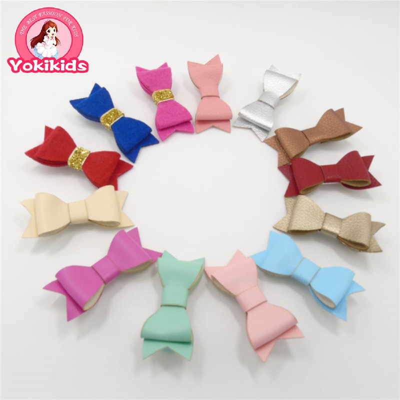 Wholesale Newest Glitter Felt and Artificial Leather Bow Hair Clips Baby Fashion Hair Accessory Head Wear Bow Hair Grips Hot(China (Mainland))