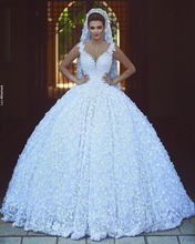 Buy 2017 New Arrival Princess Big Ball Gown Wedding Dresses Long Deep V-Neck See Back Beaded 3D Floral Tulle robe de mariage for $239.87 in AliExpress store