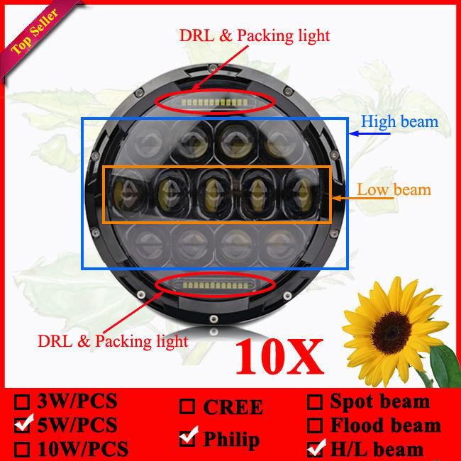 10x Round LED Worklight 75w bulb for Jeep wrangler 75W H/L beam LED Car Headlight DRL 12V 24V Driving Light 75W(China (Mainland))