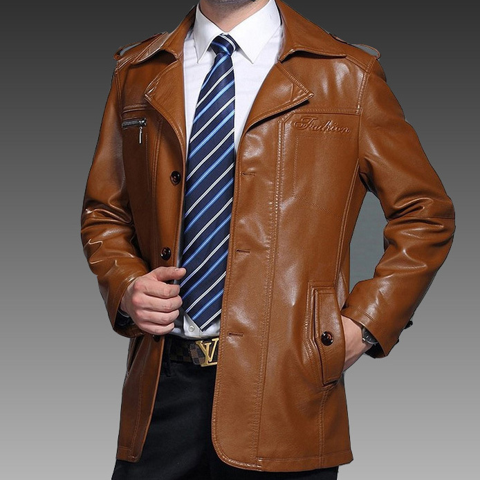 Mens Leather Dress Coat - JacketIn
