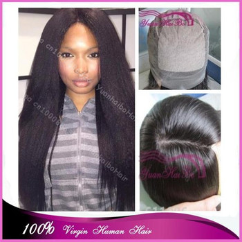 "Top 6a quality 22"" #1b kinky straight virgin malaysian remy hair silk base full lace wigs free shipping"