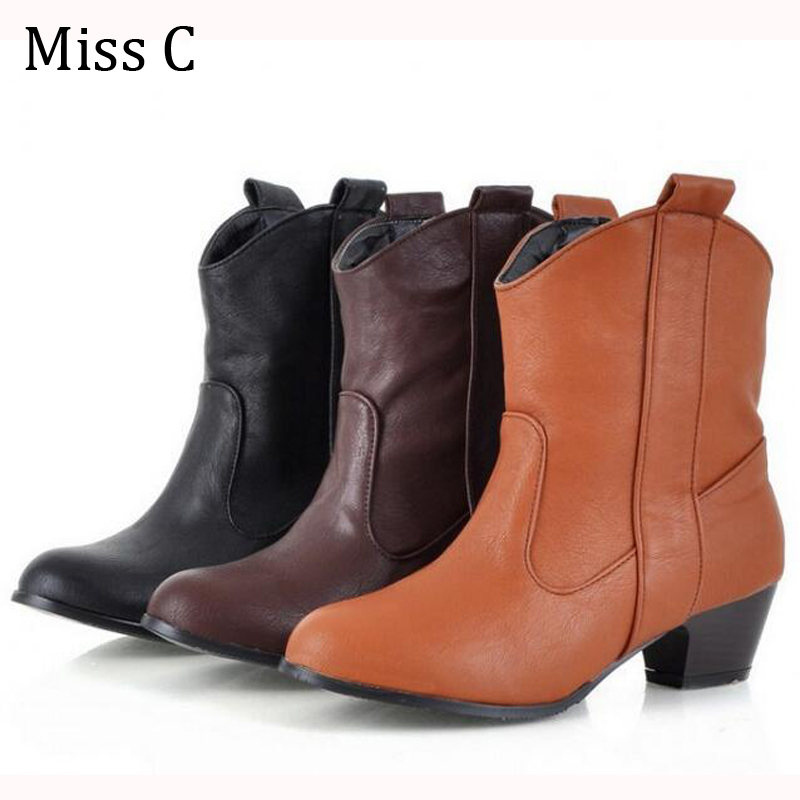 Combat Motorcycle Western Cowboy Boots Good PU Leather Women Ankle Boots Square Toe Autumn Winter Shoes WBS136(China (Mainland))