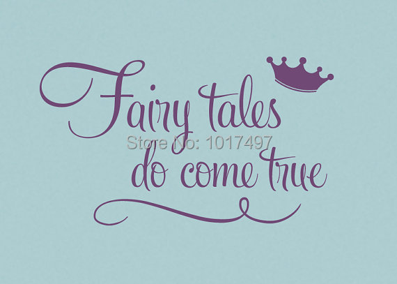 Princess with crown wall quote stickers - Fairy tales Do Come True -Princess Wall Stickers baby girls room ,free shipping k2062(China (Mainland))
