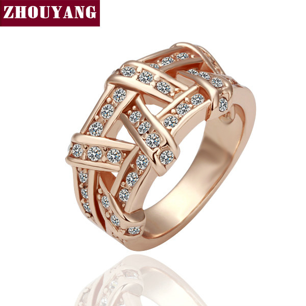 18K Rose Gold / White Gold Plated Weave Ring Health Jewelry Nickel Free K Golden Plating  CZ Diamond ZYR284 ZYR285