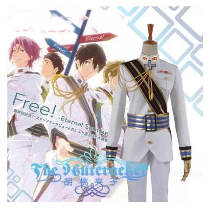 Free Shipping! Newest! Free! Iwatobi Swim Club Haruka Nanase White Suits Unisex Cosplay Costume ,Perfect Custom For you!(China (Mainland))