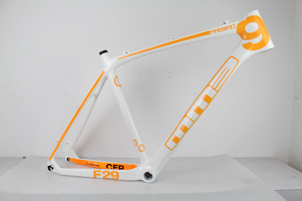 on promotion carbon mountain bike frame,mtb carbon frame 26er bicycle frame 21'' BSA with white/yellow painting(China (Mainland))