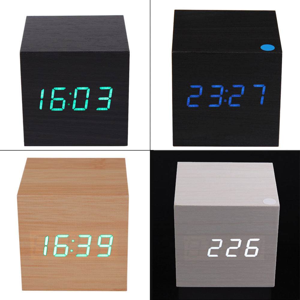 2015 Modern Wooden USB/AAA Powered Digital LED Desk Alarm Clock Thermometer Free Shipping(China (Mainland))