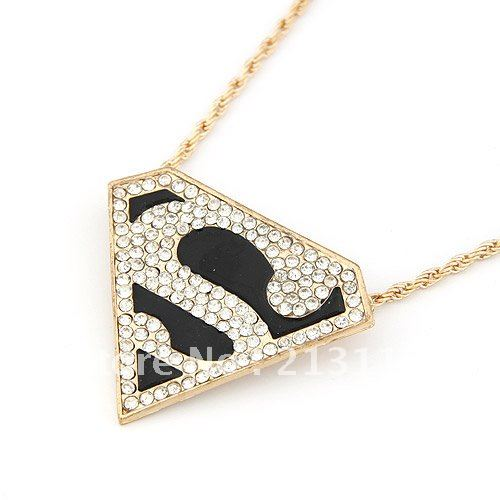 Gold Plated Triangle Pendant,S shaped super man pendant necklace,Free Shipping Promotion Wholesale(China (Mainland))