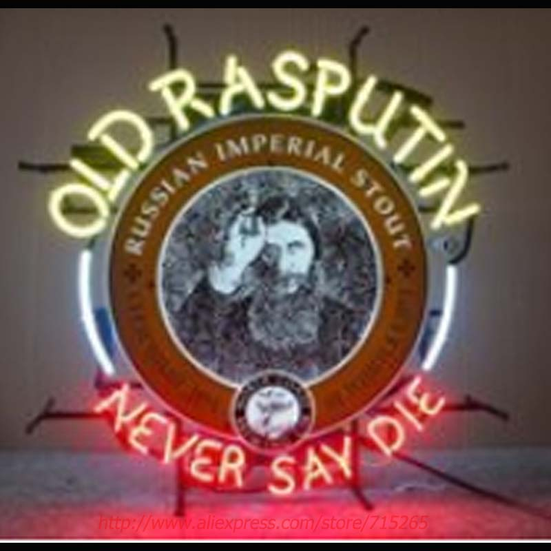 Old Rasputin Never Say Die Neon Sign Neon Bulbs Led Signs Real Glass Tube Handcrafted Decorate Beer Pub Advertise Neon 24x20(China (Mainland))