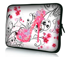 fast shipping laptop & tablet accessories pink flower high-heeled soft neoprene laptop tablet PC sleeve bags case 10 inch(China (Mainland))