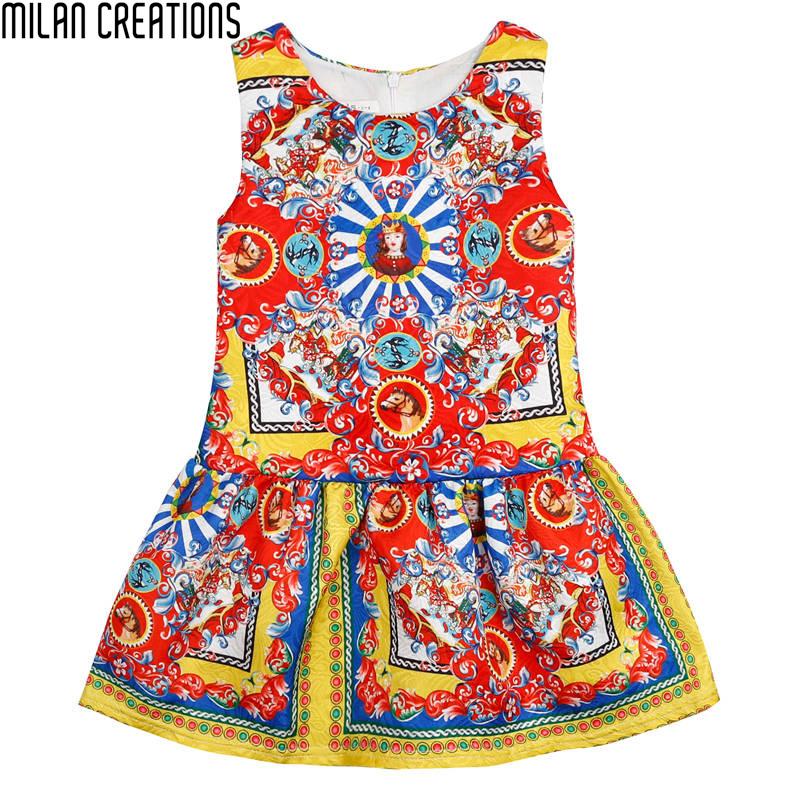 Toddler Girls Dresses 2016 Brand Kids Summer Dress Princess Caretton Print Kids Dresses for Girls Clothes Children Dress 3-10Y(China (Mainland))