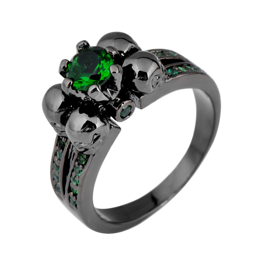 Fashion Female Skull Emerald Ring 18KT Black Gold Filled Jewelry 2015 Top Quality Party Engagement Wedding Rings For Women(China (Mainland))
