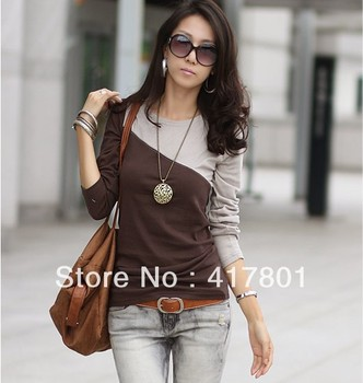 Free  Shipping 2013 Woman T-shirt Tops for Woman T-shirts  whosaler price Blue Orange Green Gray and Brown color free size