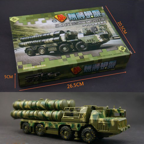 4D Plastic Assembled Air Defense Missile Launching Vehicle 1:72 Scale Puzzle Assembling Military Model Toys For Children(China (Mainland))
