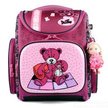 New Fashion DELUNE Children Cartoon Dogs Cute Bear Girls School Bags Waterproof Foldable Orthopedic School Backpacks Kids Bolsas(China (Mainland))