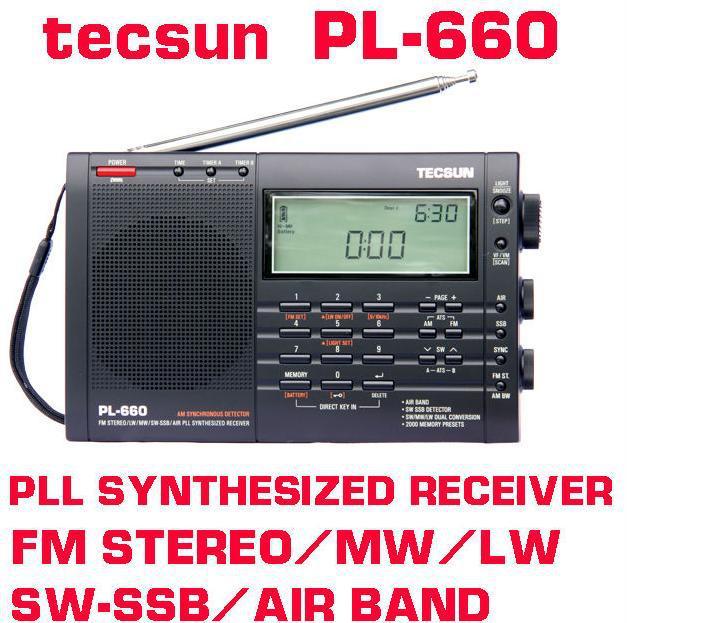 Beautiful Sound High Sensitivity Tecsun PL-660 FM AM MW SW Air Band Radio Rechargeable Digital Portable Radio PL660 Black Silver(China (Mainland))
