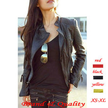 2015 New Fashion Autumn Winter Women Brand Faux Soft Leather Jackets Pu Black Red Yellow Zippers Long Sleeve Motorcycle Coat(China (Mainland))