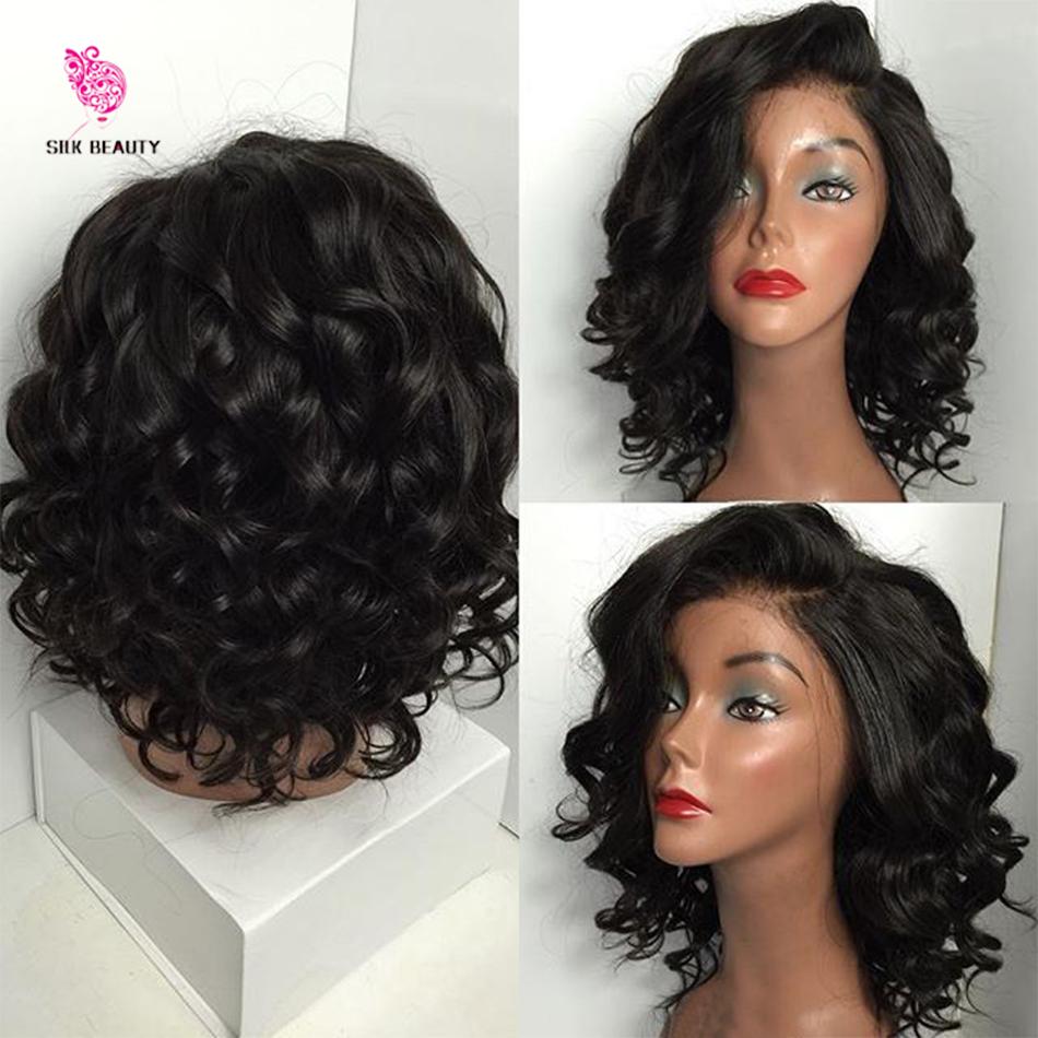 Short Haircut Virgin Brazilian Glueless Full Lace Short Human Hair Wigs With Bangs Short Wavy Bob Lace Front Wig For Black Women(China (Mainland))