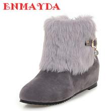 ENMAYDA Nueva Cálido Invierno Nieve Botas de Mujer Zapatos de Tacones Altos de Tobillo cargadores para Las Mujeres Negro Plataforma Punta Redonda Zapatos de Gran Tamaño 34-43(China (Mainland))