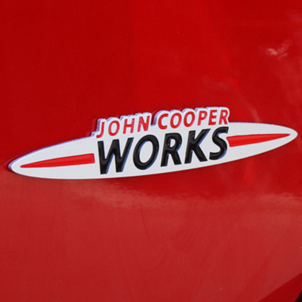 Car Styling Sticker JCW Chrome Finish 3D Car Stickers for Mini for john Cooper for BMW Works GRILLE Emblem Badge free shipping(China (Mainland))