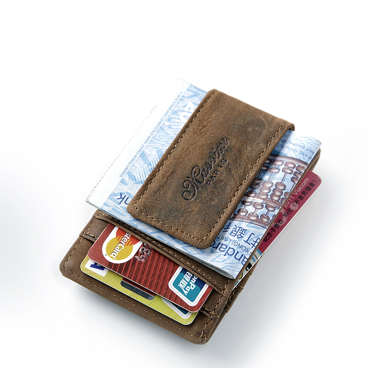 Гаджет  teemzoneFree shipping Men Genuine Leather Wallet Business Casual Credit Card ID Holder with Strong Magnet Money Clip None Камера и Сумки