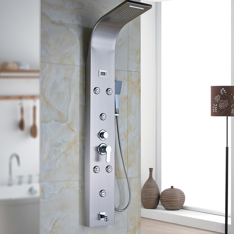 Modern Shower Column Stainless Steel Rain Waterfall Shower Panel 6pc Massage System with Jets& Temperature Digital Display(China (Mainland))