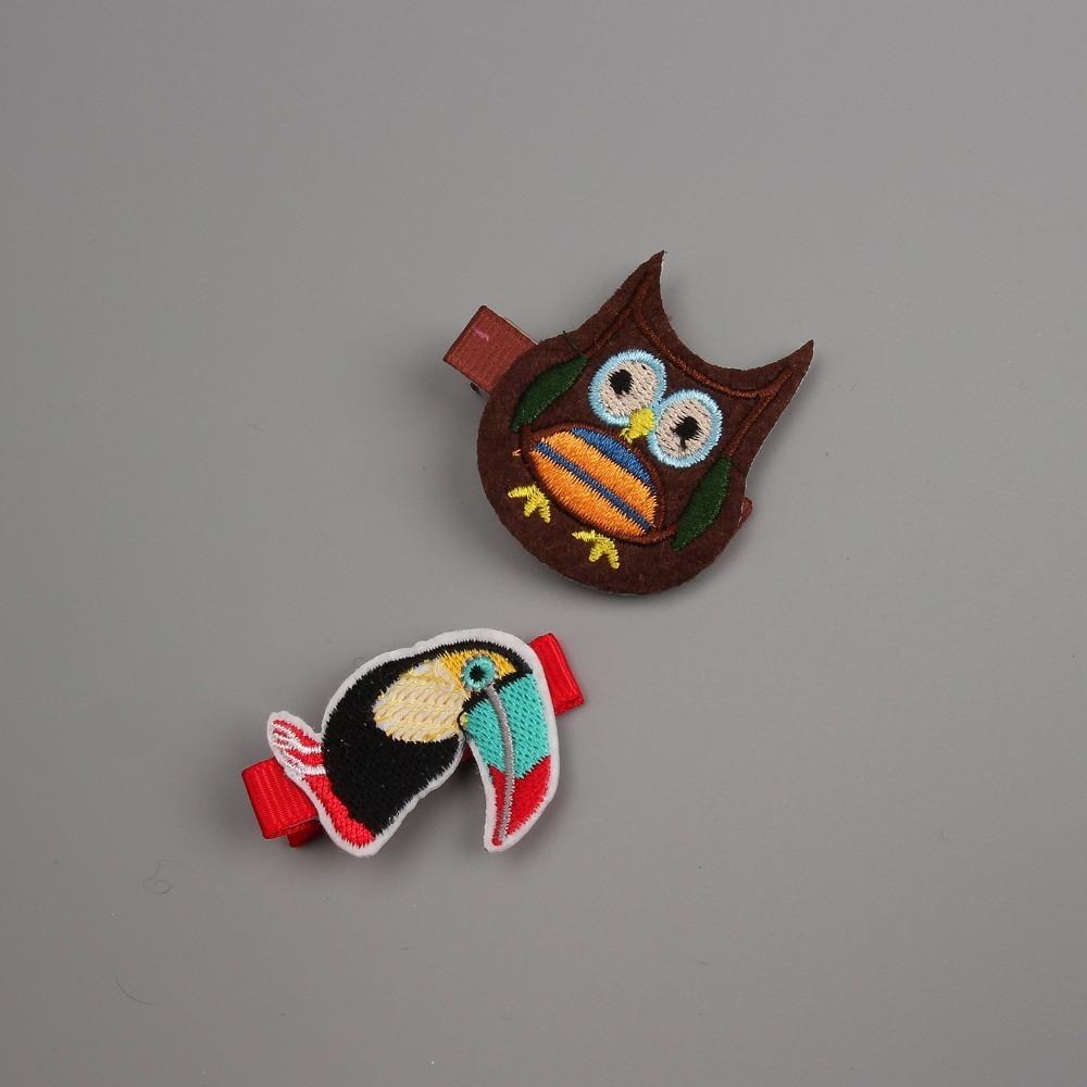 Creative Owl And Big Mouth Bird Embroidered Hairpins Children Headdress Baby Hair Clips Headwear Girls Hair Accessories(China (Mainland))