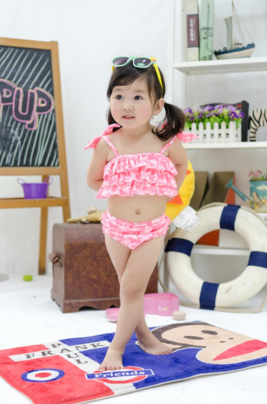 Swimwear Kids 2015 Biquini Infantil Girls Pink Flower print Two Piece Children swimsuit<br><br>Aliexpress