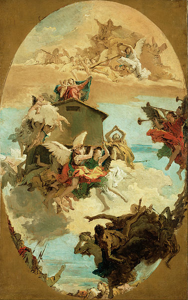 Canvas Art Prints Fabric Giclee Oil Painting Giovanni Battista Tiepolo (<font><b>italian</b></font> - The Miracle Of Holy House Loreto