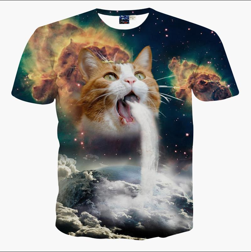Solar Kitten T-Shirt cat vomiting a waterfall onto Earth vibrant t shirts Summer galaxy nebula space tees for Unisex tee clothes(China (Mainland))