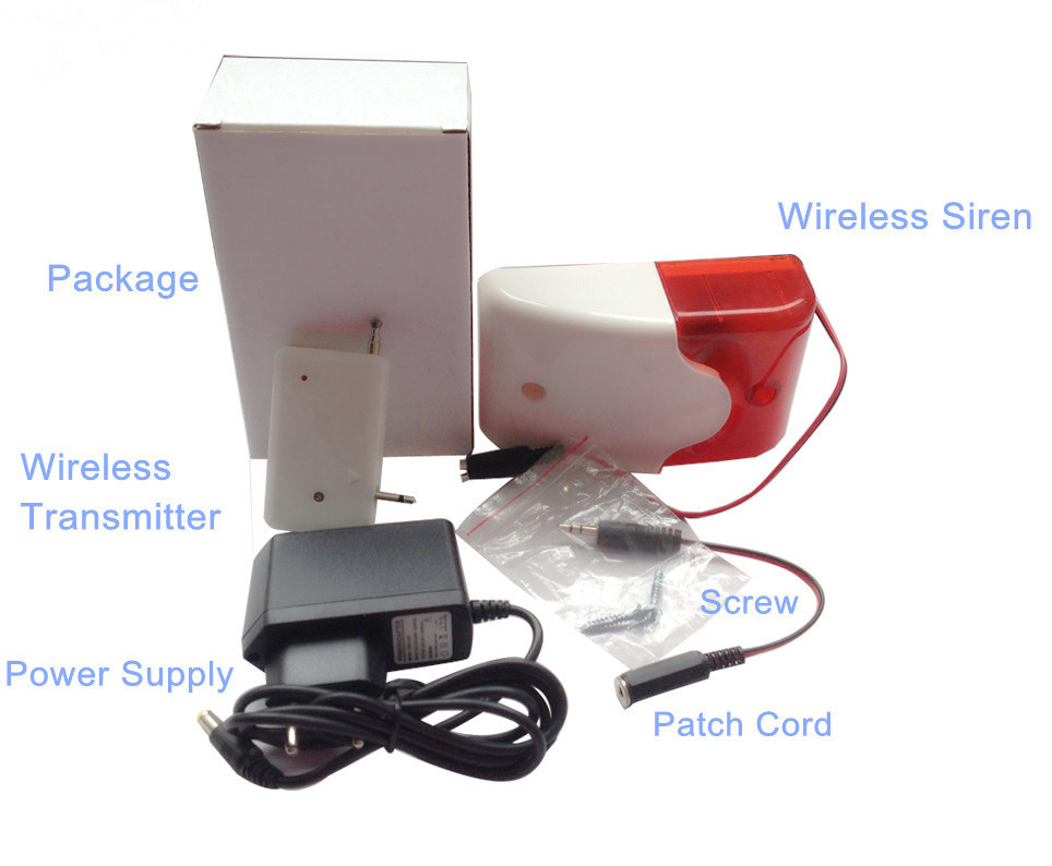 Free shipping 433/315Mhz wireless alarm Flash Light GSM Strobe Siren+12v AC to DC adaptor for alarm systems security home(SR-60)(Hong Kong)
