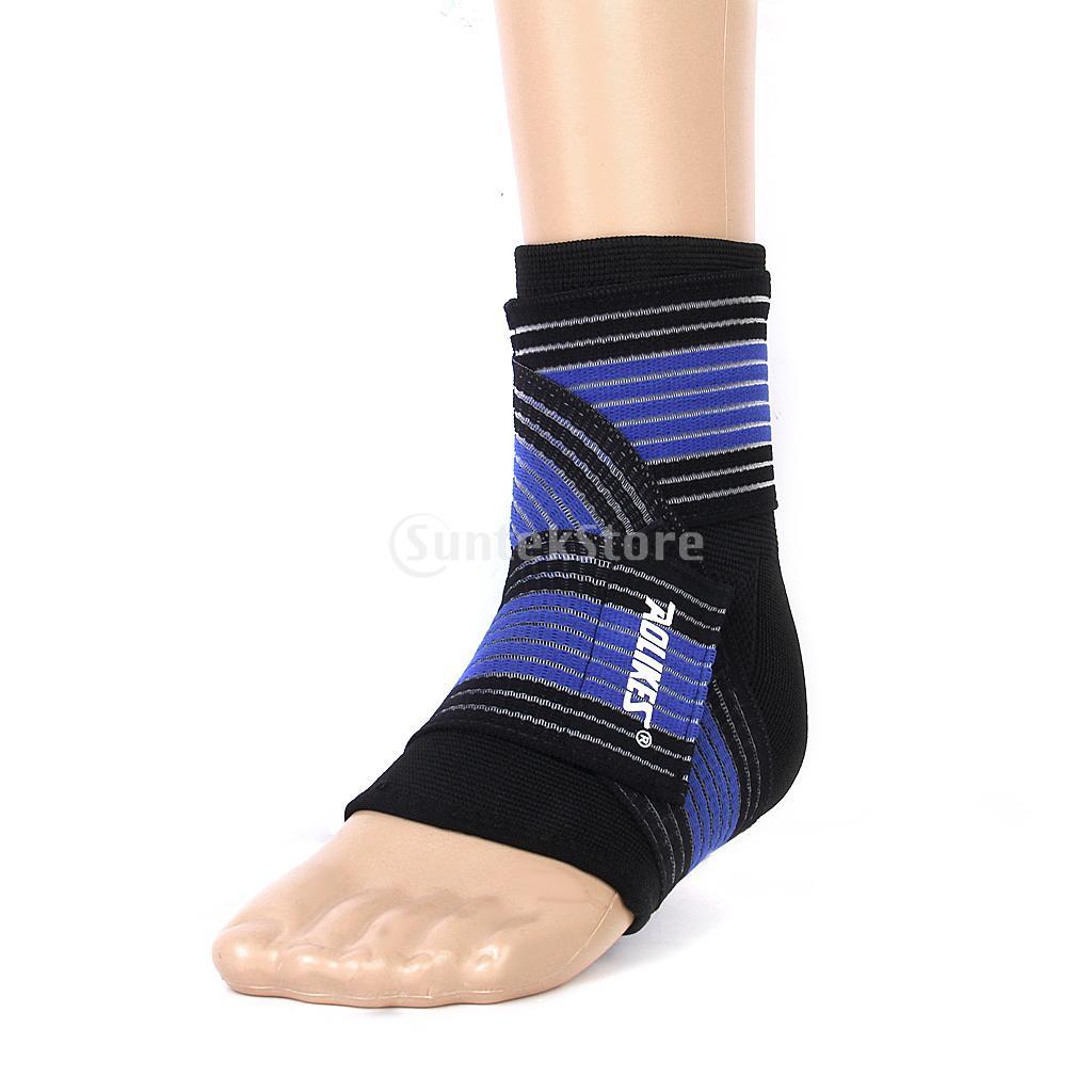Footful Ankle Foot Elastic Compression Wrap Support Sleeve + Bandage Brace Guard Injury-Black(China (Mainland))
