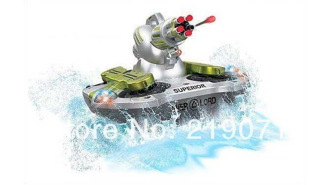 Newest RC Tank Radio Remote Control Amphibious Tank 24883B Toy hovercraft shotting target flashing light Fast shipping