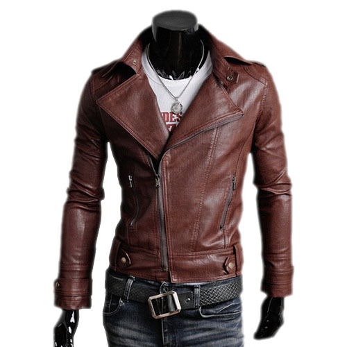 Free shipping 2015 Foreign trade new Korean men's Slim men 's leather motorcycle jacket men leather jackets BG-F9570(China (Mainland))