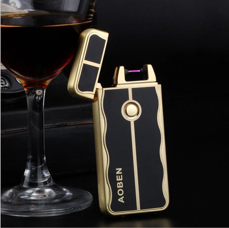 Environmental pulse arc gifts USB charging creative personality cigarette lighter free shipping(China (Mainland))