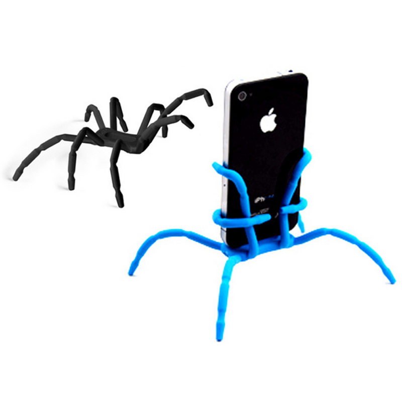 Cute Spider Flexible Silicone Mobile Phone Holder Tripod For iPhone Samsung Xiaomi Universal Desk Car Phone Holder Stand XY2129(China (Mainland))