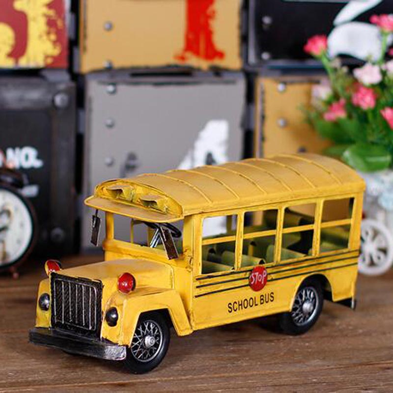 2017 Vintage Yellow School Bus Vehicles Model Car Metal Kids Toys Collection Education Best Gifts For Children Toy Car(China (Mainland))