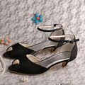 Dropshipping Low Heel Peep Toe Black Sandals Bridal Medium Heel Ankle wrap Shoes